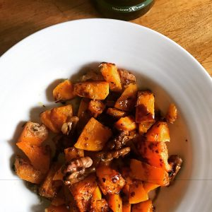 Healthy Halloween Party Food: Baked butternut squash with walnuts